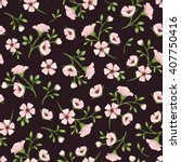 Stock vector vector seamless pattern with pink flowers and green leaves on a dark purple background 407750416
