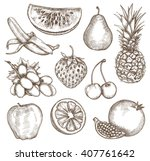 fruit  sketches  hand drawing ... | Shutterstock .eps vector #407761642