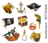 sea pirates  vector icon set | Shutterstock .eps vector #407761666