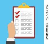 flat illustration checklist | Shutterstock . vector #407766442