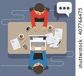 flat illustration meeting | Shutterstock . vector #407766475