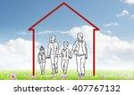 happy family in house | Shutterstock . vector #407767132