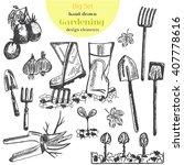 hand drawn vector garden tools. ... | Shutterstock .eps vector #407778616
