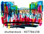 Crowd In City Freehand Sketch