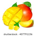 ripe fresh mango with slices... | Shutterstock .eps vector #407791156