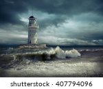 lighthouse on the sea under sky. | Shutterstock . vector #407794096