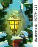 street lamp. winter  moonlit...   Shutterstock .eps vector #407794216