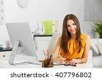 a beautiful successful woman... | Shutterstock . vector #407796802