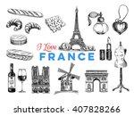 vector france hand drawn... | Shutterstock .eps vector #407828266