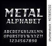metal alphabet font. oblique...   Shutterstock .eps vector #407835232
