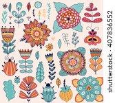 set of vector flowers. vector... | Shutterstock .eps vector #407836552