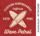 vintage surfing tee design.... | Shutterstock .eps vector #407841688