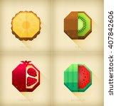 vector stylized fruits set in...   Shutterstock .eps vector #407842606
