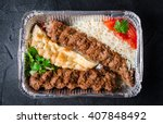 kebab with rice and flatbread...