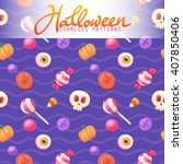 halloween seamless patterns.... | Shutterstock .eps vector #407850406