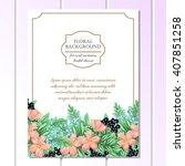 romantic invitation. wedding ... | Shutterstock .eps vector #407851258
