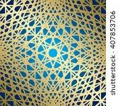 golden lines on blue background ... | Shutterstock .eps vector #407853706