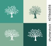 beautiful oak  olive and maple... | Shutterstock .eps vector #407866858