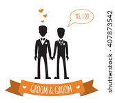 gay wedding couple. vector... | Shutterstock .eps vector #407873542