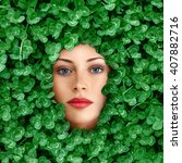 Beautiful Young Woman Face...