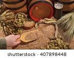 beer and beer barrel  hops ...   Shutterstock . vector #407898448