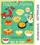 italian food menu card with... | Shutterstock .eps vector #407904166