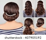 greek style hairdo with string... | Shutterstock . vector #407905192