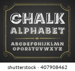 hand drawn alphabet on... | Shutterstock .eps vector #407908462