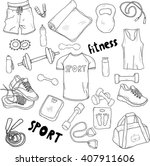 set of vector hand drawn sports ... | Shutterstock .eps vector #407911606