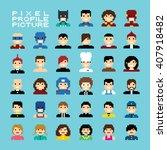 Pixel People Avatar Set Vector...