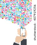 smart phone and cloud... | Shutterstock .eps vector #407919256