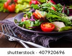 fresh salad with chicken ... | Shutterstock . vector #407920696