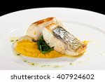 fine dining seabass fillets on... | Shutterstock . vector #407924602