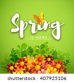 inscription spring time with... | Shutterstock .eps vector #407925106