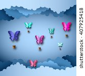 papercut design  vector paper... | Shutterstock .eps vector #407925418