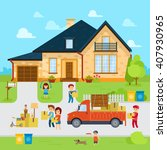 people moving in to a new home... | Shutterstock .eps vector #407930965