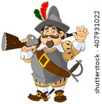 cartoon spanish conquistador... | Shutterstock .eps vector #407931022