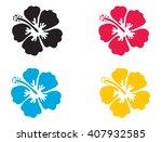hibiscus flower. vector... | Shutterstock .eps vector #407932585