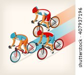 set of colorful bicycle riders... | Shutterstock .eps vector #407937196