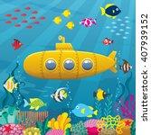 submarine background  cartoon... | Shutterstock .eps vector #407939152