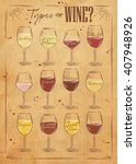 poster main types of wine... | Shutterstock . vector #407948926