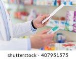 pharmacist filling prescription ... | Shutterstock . vector #407951575