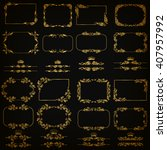 vector set of gold decorative... | Shutterstock .eps vector #407957992