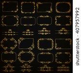 vector set of gold decorative... | Shutterstock .eps vector #407957992