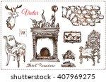 set of old vintage furniture....   Shutterstock .eps vector #407969275