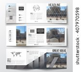 vector set of tri fold... | Shutterstock .eps vector #407970598
