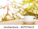 white coffee cup on top wooden... | Shutterstock . vector #407974615