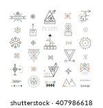 sacred geometry. set of minimal ... | Shutterstock .eps vector #407986618