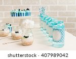 turquoise candy bar zone with... | Shutterstock . vector #407989042