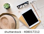 top view of hat woman glasses... | Shutterstock . vector #408017212